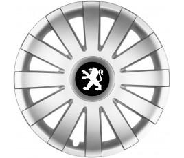 "Poklice kompatibilné na auto Peugeot 15"" AGAT silver"